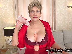 Busty British mature Lady Sonia loves to watch you stroke your cock!