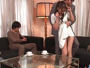 Aoi Miyama feels magic during biting toy porn