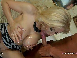 Blonde professional escort Vittoria Risi sucks and gets fucked