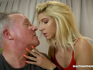 Patriarch gives a foot massage to young beauty plus fucks her yummy slit