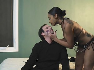 Dominant deadly woman wants her male slave dick right gear up