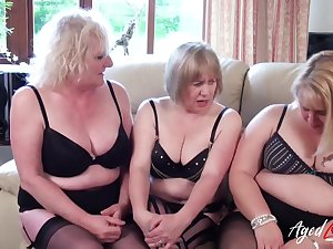 Three of age ladies are bringing off up team a few big dick added to fucking hard