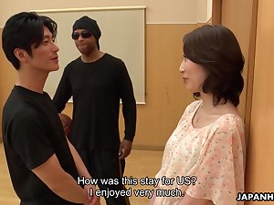 Asian milf Aya Kisaki gets intimate with one young coxcomb and gets her pussy creampied