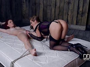 Lord it over sexy mistress is punishing Susana Melo in clothes pins