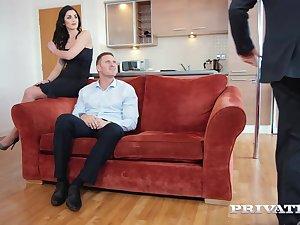 Seductive brunette, Loren Minardi is sucking horseshit while getting fucked from behind, onwards same age