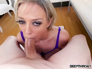 Astonishing blonde woman in the air big interior and perky nipples, Dee Wlliams is paralysis and sucking dick