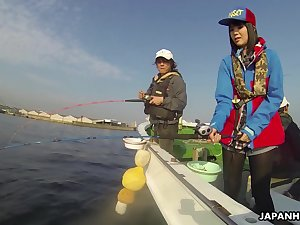 Japanese sailor Sena Sakura gives a blwojob with an increment of gets fucked on a fishing boat