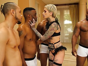 One insidious guys fuck all holes of tattooed white babe Leigh Menacing