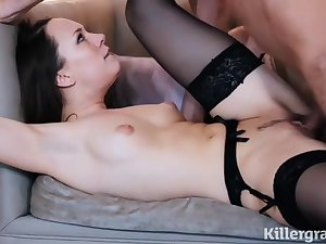 X Angel is wearing erotic, black stockings and garter belt while sucking her lover's fast cock