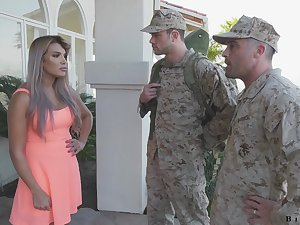 Army officer makes soldier to near a blowjob to fucking hot wife Mercedes Carrera