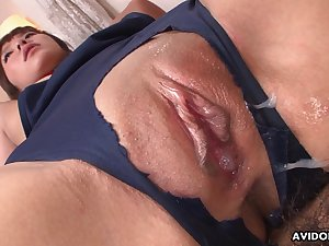 Comely Japanese babe enjoying some juicy creampie after a enlivened fuck