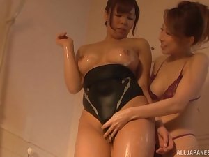 Japanes lesbian movie with oiled Kitagawa Eria with an increment of her boss