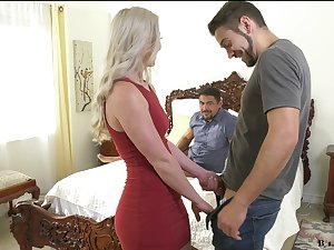 Stunning blonde Kay Carter is having crazy sex recreation with two bisexual dudes