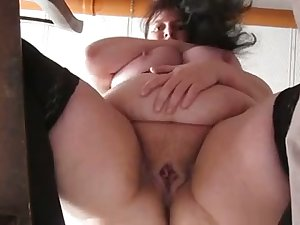 This mature protest has some nice big belly and she masturbates like a pro