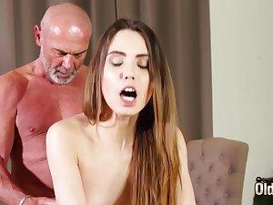 Fucking niggardly vagina making her wet for grandpa