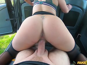 Curvy arse female shares her POV enactment on the back seat