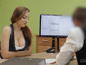 A university graduate seduces her future boss with her tits and fucks him good