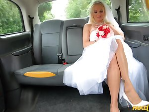 Bride to be ends in all directions getting laid with chum around with annoy taxi drive r