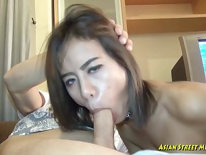 Small titted, Thai bitch got fucked in many positions, encircling earn her money for the day