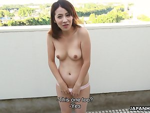 Japanese vixen with a nice bust snacks on a guy's sausage in front fucking