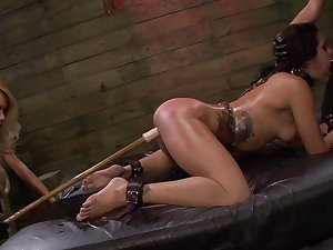 Lezdom BDSM session be fitting of sexy girls Isa Mendez, Mila Blaze and Ava Kelly