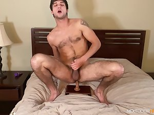Delighted lad works his toy in solo anal scenes on cam