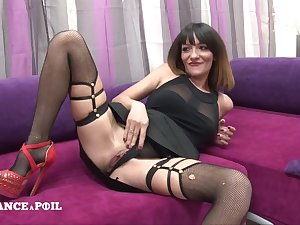 Casting Of A Pretty Darkhair In stockings