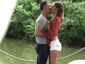 Couple in love is having passionate sex at the Summer Concourse