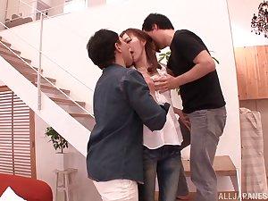 Pretty Japanese girlfriend MIYABI fucked by two lucky dudes
